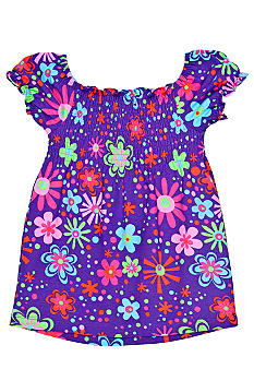 J Khaki Floral Printed Smocked Babydoll Top Girls 4-6X