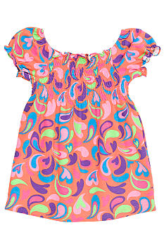J Khaki Print Babydoll Top Girls 4-6X