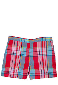 J Khaki Woven Plaid Short Girls 4-6x