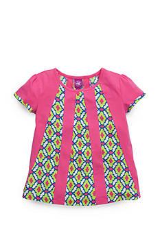 J Khaki™ Short Sleeve Lattice Print Panel Top Girls 4-6x