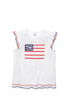 J Khaki™ Ruffle Sleeve Flag Top Girls 4-6x