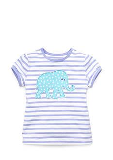 J Khaki™ Short Sleeve Elephant Striped Top Girls 4-6x