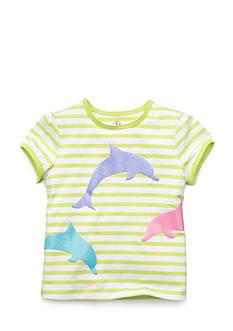 J Khaki™ Short Sleeve Dolphin Striped Top Girls 4-6x