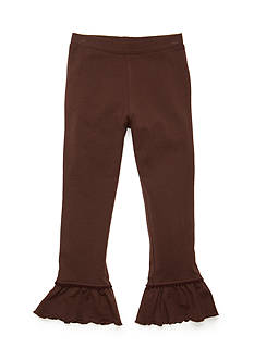 J. Khaki Solid Ruffle Leggings Girls 4-6x