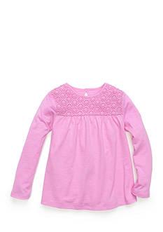 J. Khaki Babydoll Crochet Top Girls 4-6x