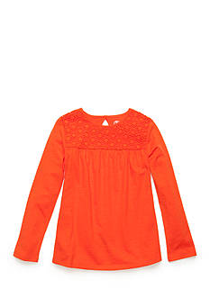 J. Khaki Babydoll Crochet Top Girls 4-6x