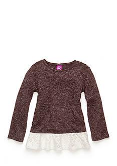 J. Khaki Crochet Trim Babydoll Top Girl 4-6X