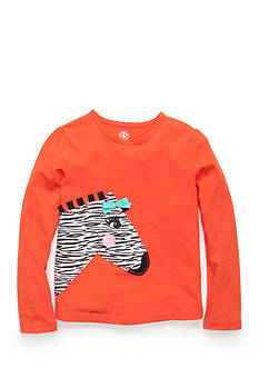 J. Khaki Long Sleeve Zebra Top Girls 4-6X
