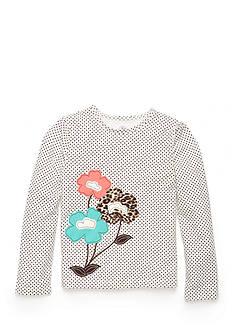 J Khaki™ Polka Dot Flowers Top Girls 4-6X