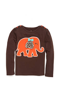 J Khaki™ Long Sleeve Elephant Top Girls 4-6x