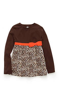 J. Khaki Long Sleeve Animal Print Babydoll Top Girls 4-6X