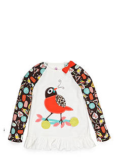 J. Khaki Bird Print Raglan Babydoll Top Girls 4-6X