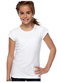 J Khaki Flutter Sleeve Basic Tee Girls 7-16