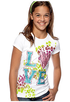 J Khaki Foil Peace Printed Tee Girls 7-16