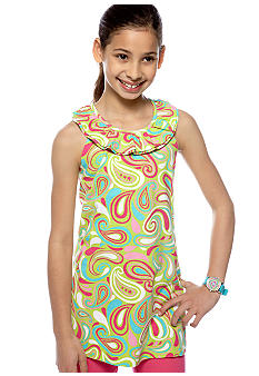 J Khaki Fun Flip Swirl Babydoll Top Girls 7-16