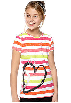 J Khaki Heart Stripe Tee Girls 7-16