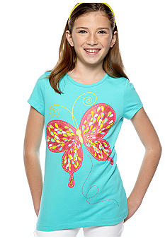 J Khaki Butterfly Tee Girls 7-16