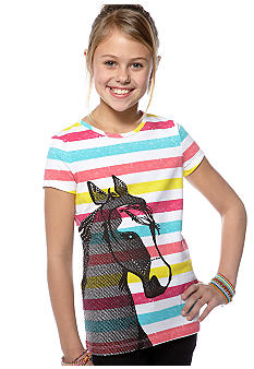 J Khaki Horse Stripe Tee Girls 7-16