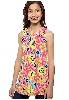 J Khaki Flower Print Knit Babydoll Top Girls 7-16