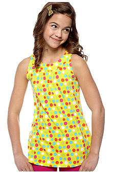 J Khaki Dot Printed Knit Babydoll Top Girls 7-16