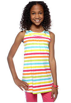 J Khaki Striped U Neck Babydoll Top Girls 7-16