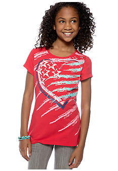 J Khaki Heart Flag Tee Girls 7-16