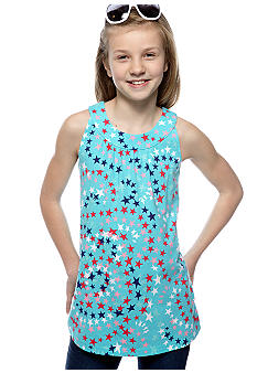 J Khaki Swirl Star U Neck Babydoll Top Girls 7-16