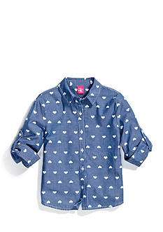 J Khaki™ Heart Pattern Chambray Shirt Girls 7-16