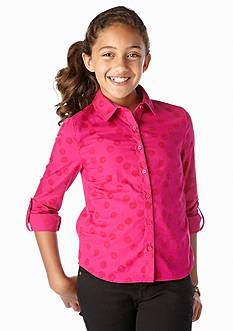 J Khaki™ Dot Button Down Polo Girls 7-16