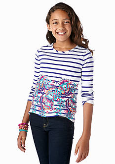 J Khaki™ Flowers and Stripes Screen Tee Girls 7-16