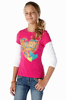 J Khaki™ Owl Heart Long Sleeve 2fer Girls 7-16