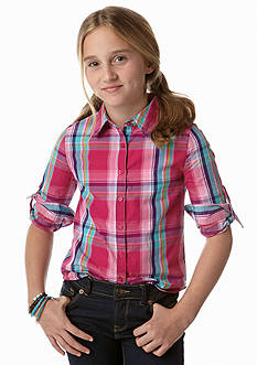 J Khaki™ Plaid Button Front Shirt Girls 7-16