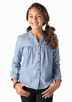 J Khaki™ Button Down Dot Chambray Top Girls 7-16