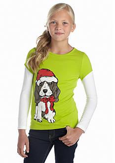 J Khaki™ Holiday Santa Pup 2Fer Tee Girls 7-16