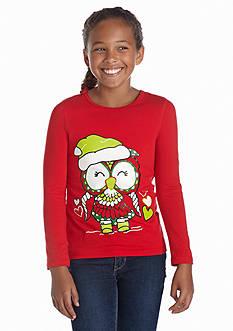 J Khaki™ Long Sleeve Santa Owl Skater Tee Girls 7-16