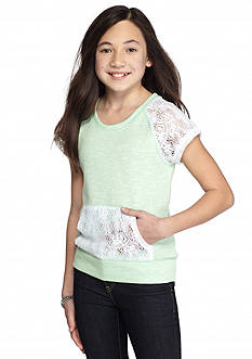 J Khaki™ Short Sleeve French Terry Crochet Top Girls 7-16