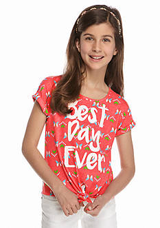 J Khaki™ 'Best Day Ever' Tie Front Top Girls 7-16