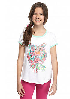 J Khaki™ Floral Owl Ringer Top Girls 7-16