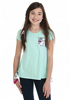J Khaki™ Side Tie Flower Back Top Girls 7-16