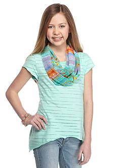 J Khaki™ Short Sleeve Burnout Top with Scarf Girls 7-16