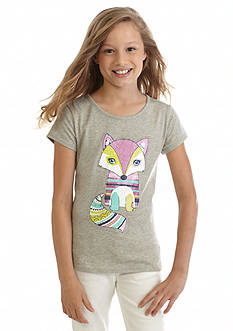 J Khaki™ Printed Fox Top Girls 7-16