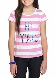 J Khaki™ 'Hi Y'all' Striped Top Girls 7-16