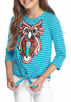 J Khaki™ Owl Stripe Tie Front Top Girls 7-16