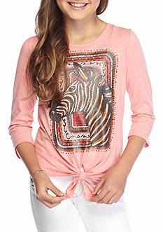 J Khaki™ Zebra Tie Front Top Girls 7-16