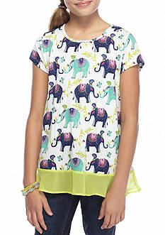 J Khaki™ Elephant Printed Knit Top Girls 7-16