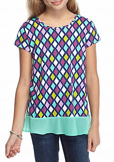 J Khaki™ Diamond Printed Knit Top Girls 7-16