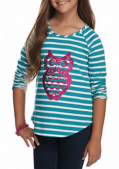 J. Khaki Owl French Terry Top Girls 7-16