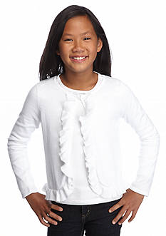 J Khaki™ Ruffle Sweater Cardigan Girls 7-16