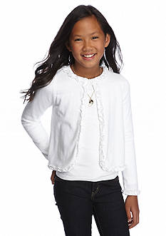 J Khaki™ Long Sleeve Ruffle Cardigan Girls 7-16