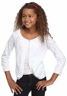 J Khaki™ Long Sleeve Open Weave Cardigan Girls 7-16